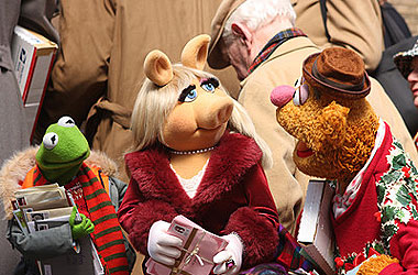 Kermit, Miss Piggy and Fozzie Bear at the US Post Office