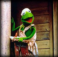 Kermit paints the Muppet Boarding House