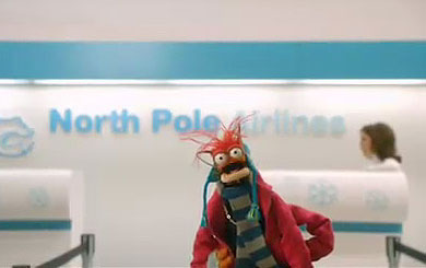 Pepe the King Prawn looking for a ride on North Pole Airlines