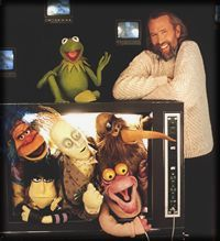 Jim Henson with Kermit on Ed Sullivan