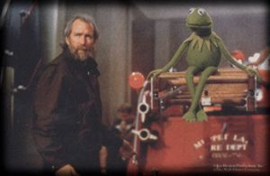 Jim Henson and Kermit on the MuppetVision 3D Set