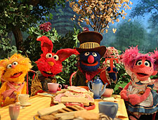 Zoe, Elmo, Grover and Abby